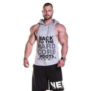 NEBBIA Hard Singlet Hood 374, Light Grey - Bokserka męska z kapturem