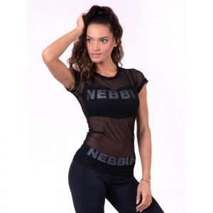 NEBBIA Flash-Mesh T-shirt 665, Black - Koszulka damska z krótkim rękawkiem