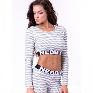 NEBBIA Boho Style 3D Pattern Crop Top 660, Light Grey - Top damski