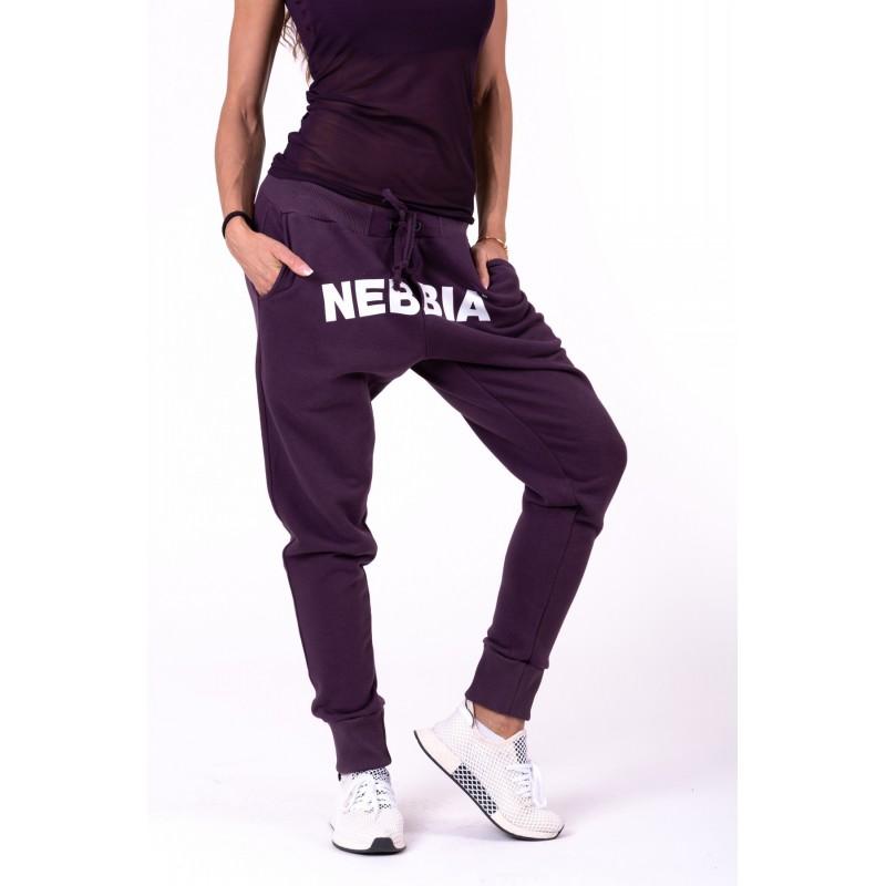 NEBBIA Street Drop Crotch Pants 274 burgundowe luźne spodnie dresowe damskie