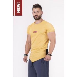 NEBBIA Red Label V-typical T-shirt 142, Mustard - Asymetryczna koszulka męska