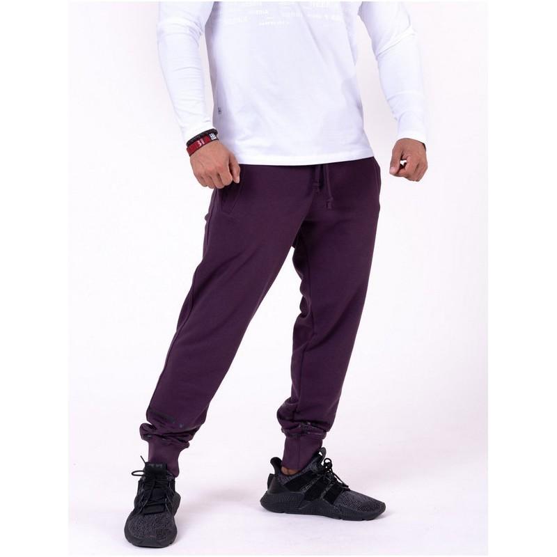 NEBBIA Gym Hero Joggers 153 burgundowe męskie spodnie dresowe z napisami