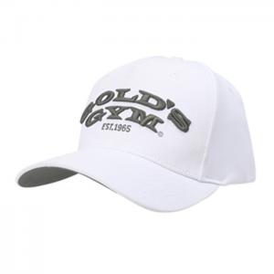 Gold's Gym Text Curved Peak Cap, White - Klasyczna czapka z daszkiem