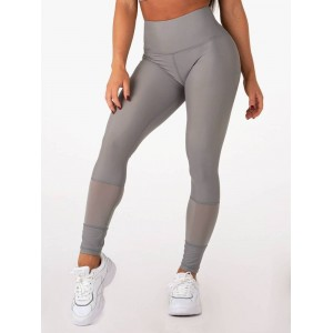Ryderwear Mesh High Waisted Leggings, Grey - Legginsy z wysokim stanem