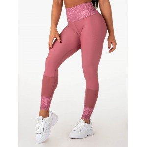 Ryderwear Mesh High Waisted Leggings, Pink - Legginsy z wysokim stanem