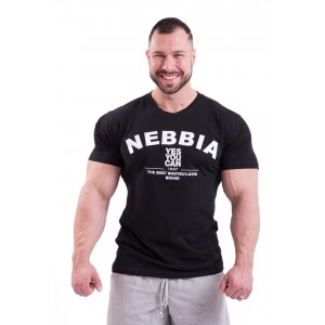 NEBBIA HardCoreT-shirt with Embroidery 396, Black - Koszulka męska