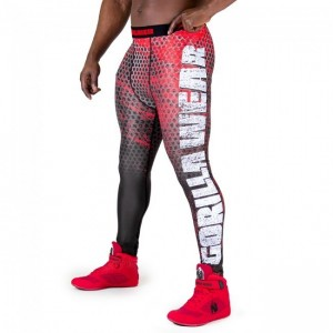 Bruce Men's Tights - Black/Red legginsy męskie treningowe Gorilla Wear U.S.A