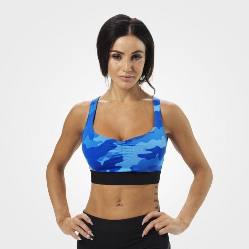 Athlete Short Top, Blue Camo - krótki sportowy top na siłownię