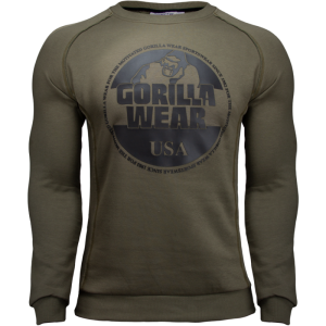 Bloomington Crewneck Sweatshirt Army Green - bluza na siłownię męska Gorilla Wear USA
