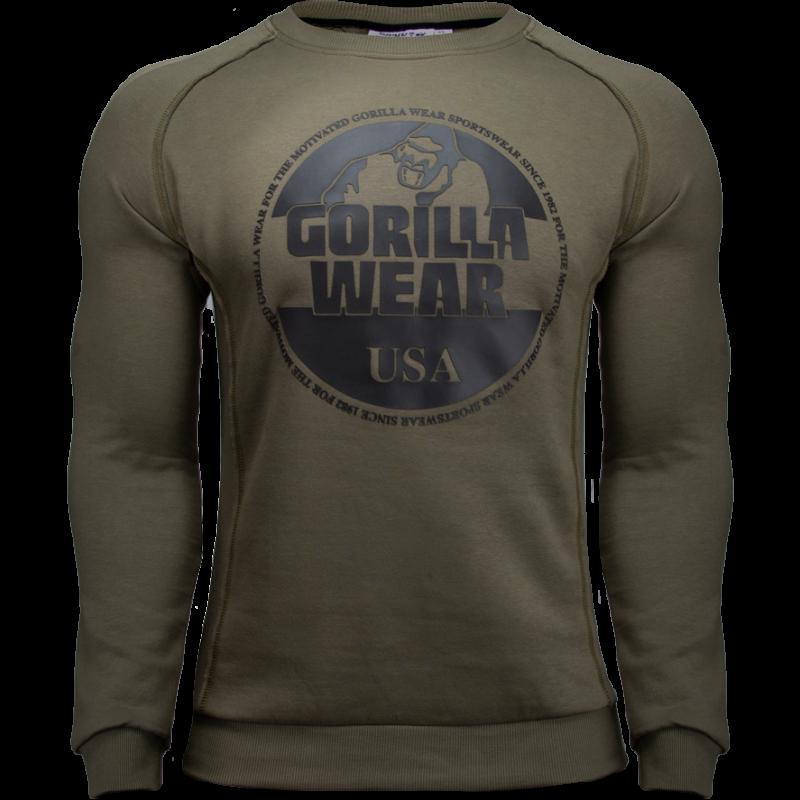 Bloomington Crewneck Sweatshirt Army Green - bluza na siłownię męska Gorilla Wear USA