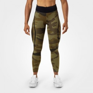 Camo High Tights, Dark Green Camo - damskie legginsy fitness Better Bodies