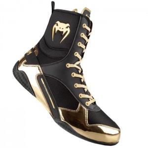 Venum Elite Boxing Shoes, Black/Gold - Obuwie sportowe do sztuk walki