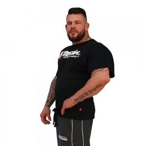 Brachial T Shirt Sign Next czarna szeroka koszulka na siłownię z logo