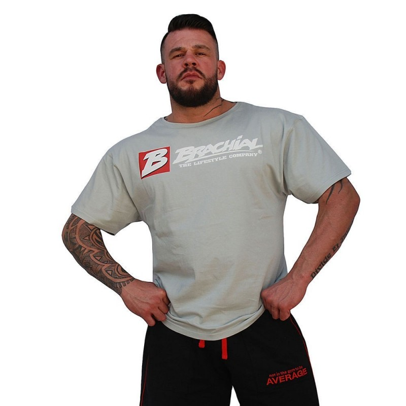 Brachial T Shirt Sign Next szara szeroka koszulka na siłownię z logo