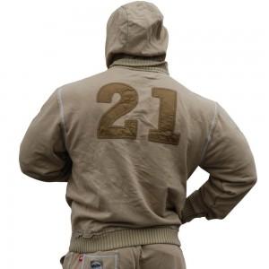 Brachial Zip-Hoody Solid - beżowy